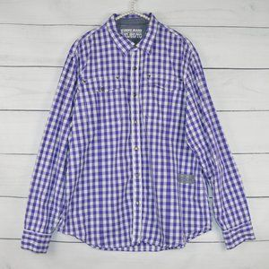 DKNY JEANS   Mens Purple Checkered Button shirt
